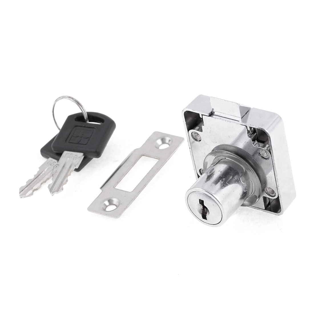 41mm x 39mm Furniture Fitting Square Plate Glass Door Lock Silver Tone w Keys