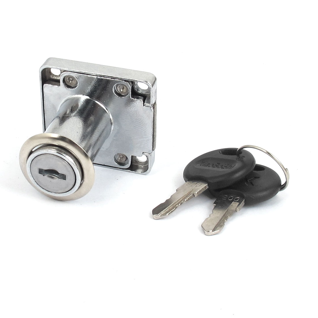 Office Desk Funiture Secure Locking Metal Drawer Lock Silver Tone w 2 Keys