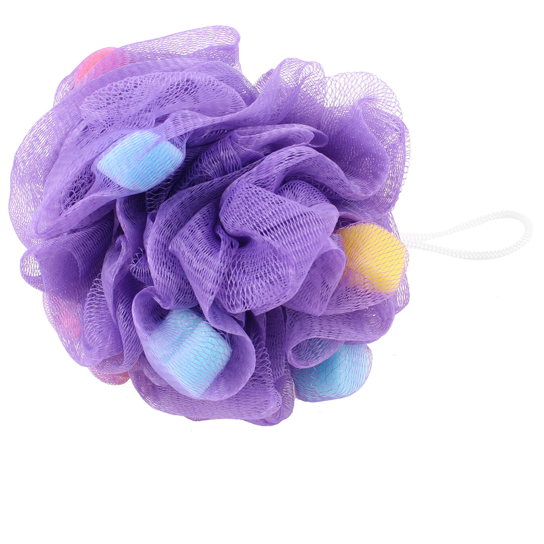 Bathing Blue Pink Heart Shape Sponge Bath Shower Pouf Mesh Net Ball Purple