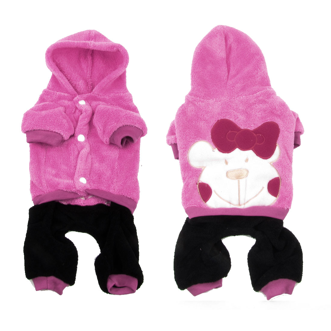 Warm Plush Press Stud Button Yorkie Dog Cat Apparel Clothes Jumpsuit Pink S