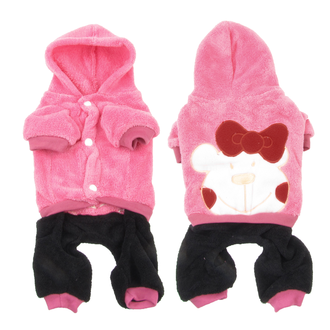 Winter Press Stud Button Hooded Bowknot Decor Pet Puppy Dog Cat Jumpsuit Pink L