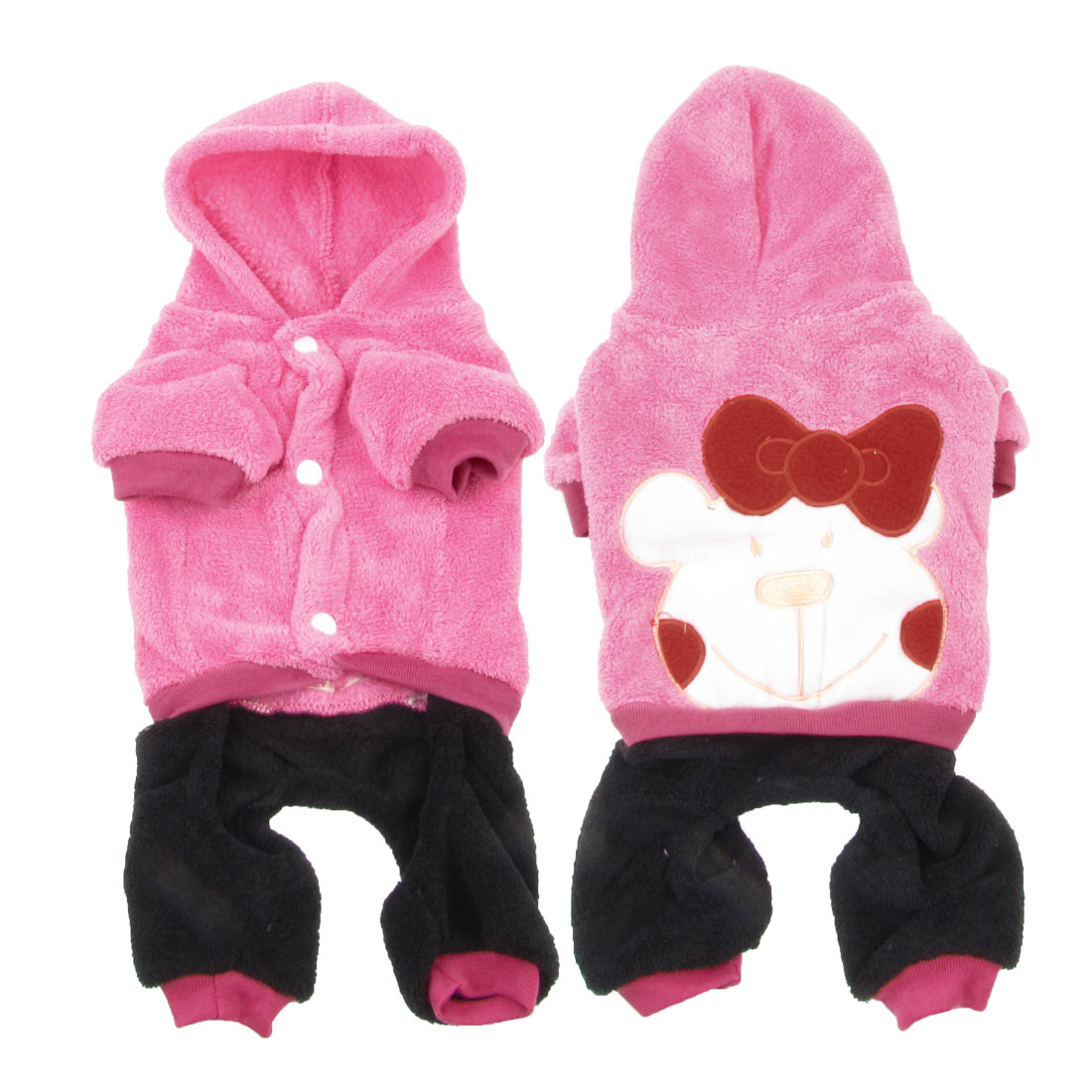 Short Sleeves Hooded Bowknot Decor Chihuahua Pet Dog Apparel Jumpsuit Pink XL