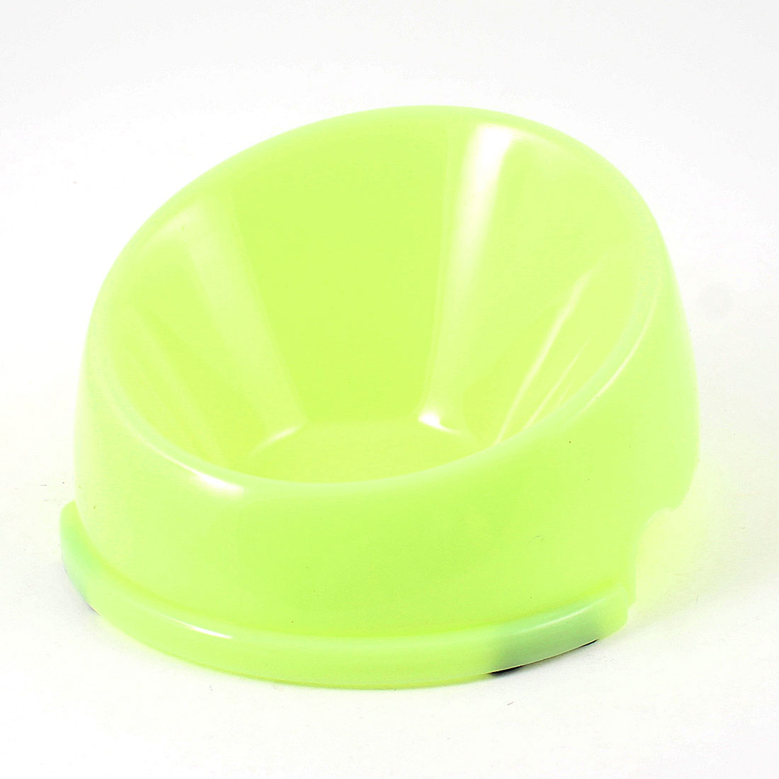 "Light Green Plastic Dog Cat Pet Slow Feed Bowl Feeder Dish 5.3"" Diameter"