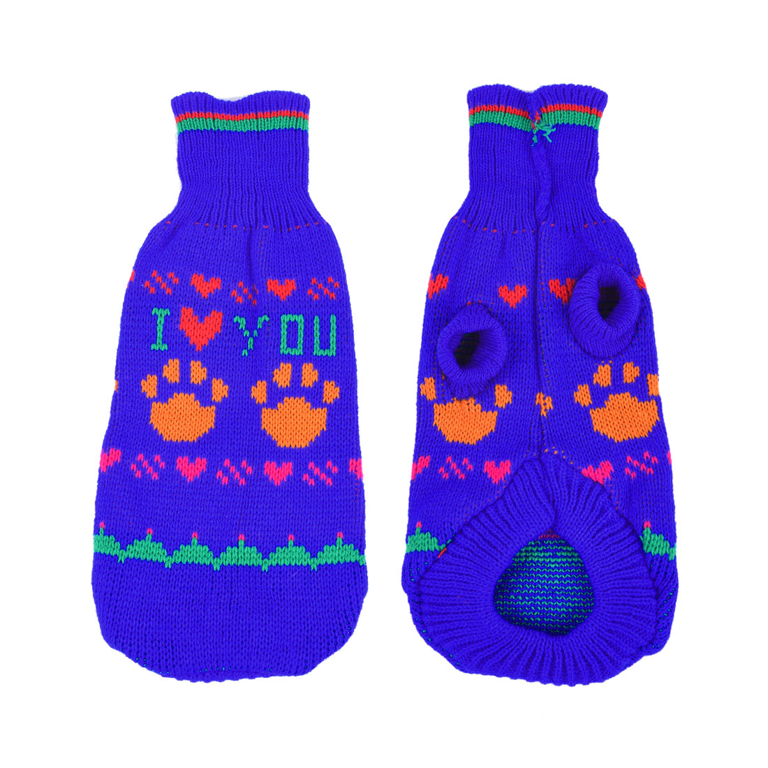 Winter Heart Pattern Knit Yorkie Dog Clothing Pet Puppy Hooded Sweater Blue M