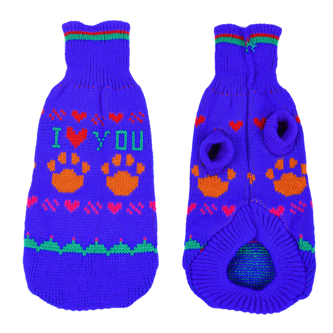 Winter Heart Pattern Hand Knit Yorkie Dog Clothing Pet Puppy Hooded Sweater Blue Size S