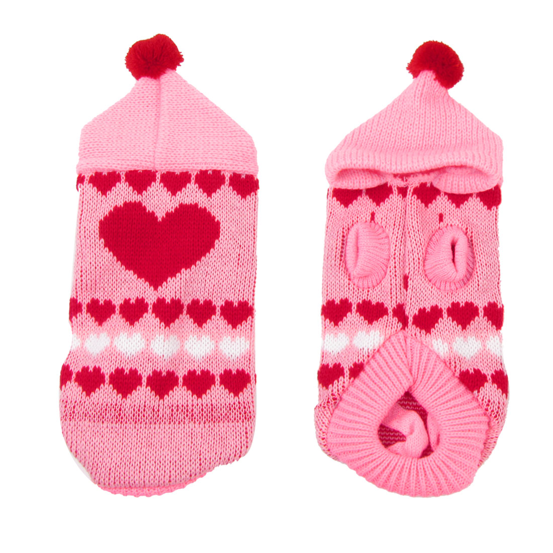 Warm Hoodie Heart Print Knitted Chihuaha Dog Sweater Clothes Pink XS