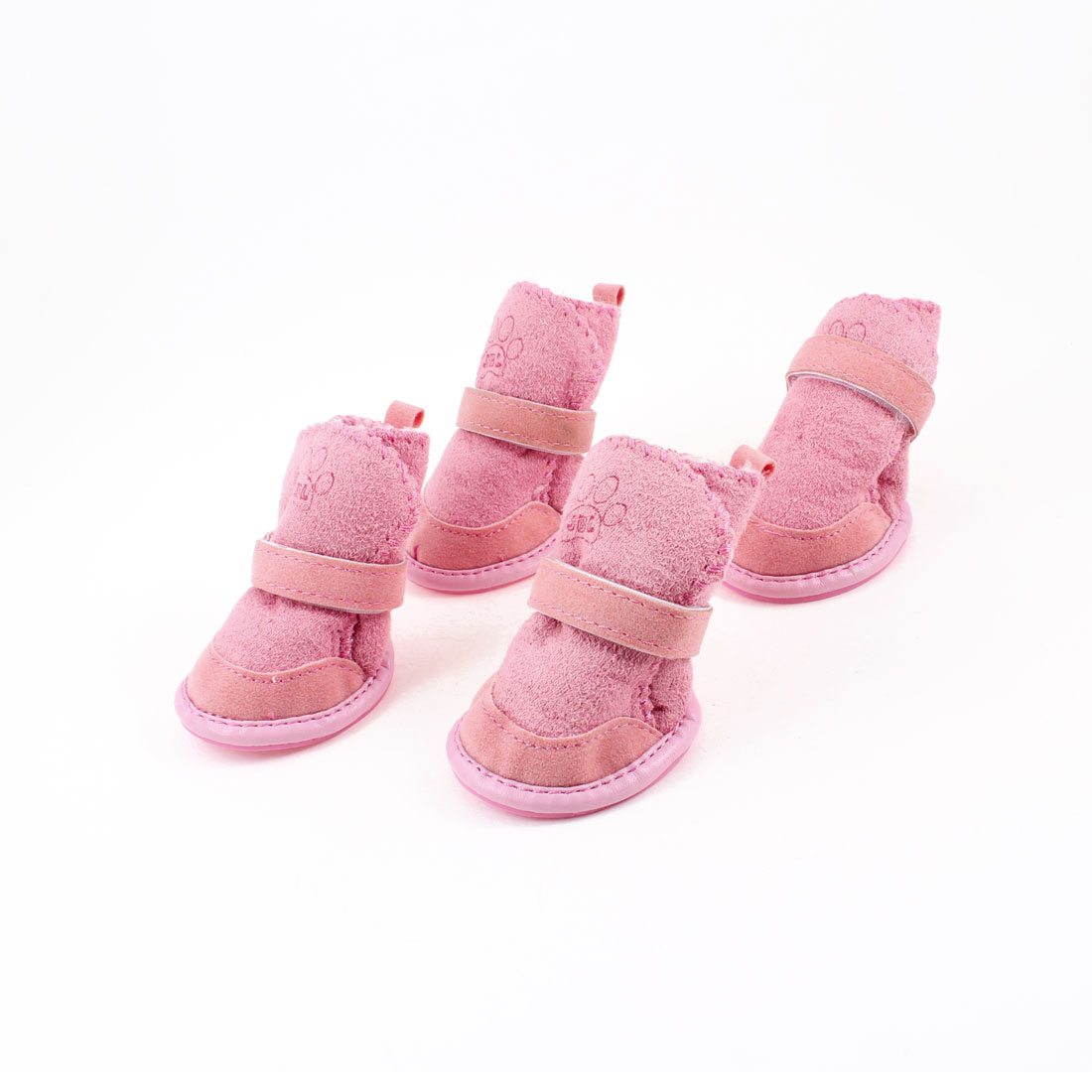 Pink Nonslip Sole Hook and Loop Fastener Booties Pug Dog Chihuahua Shoes Boots 2 Pair XXS