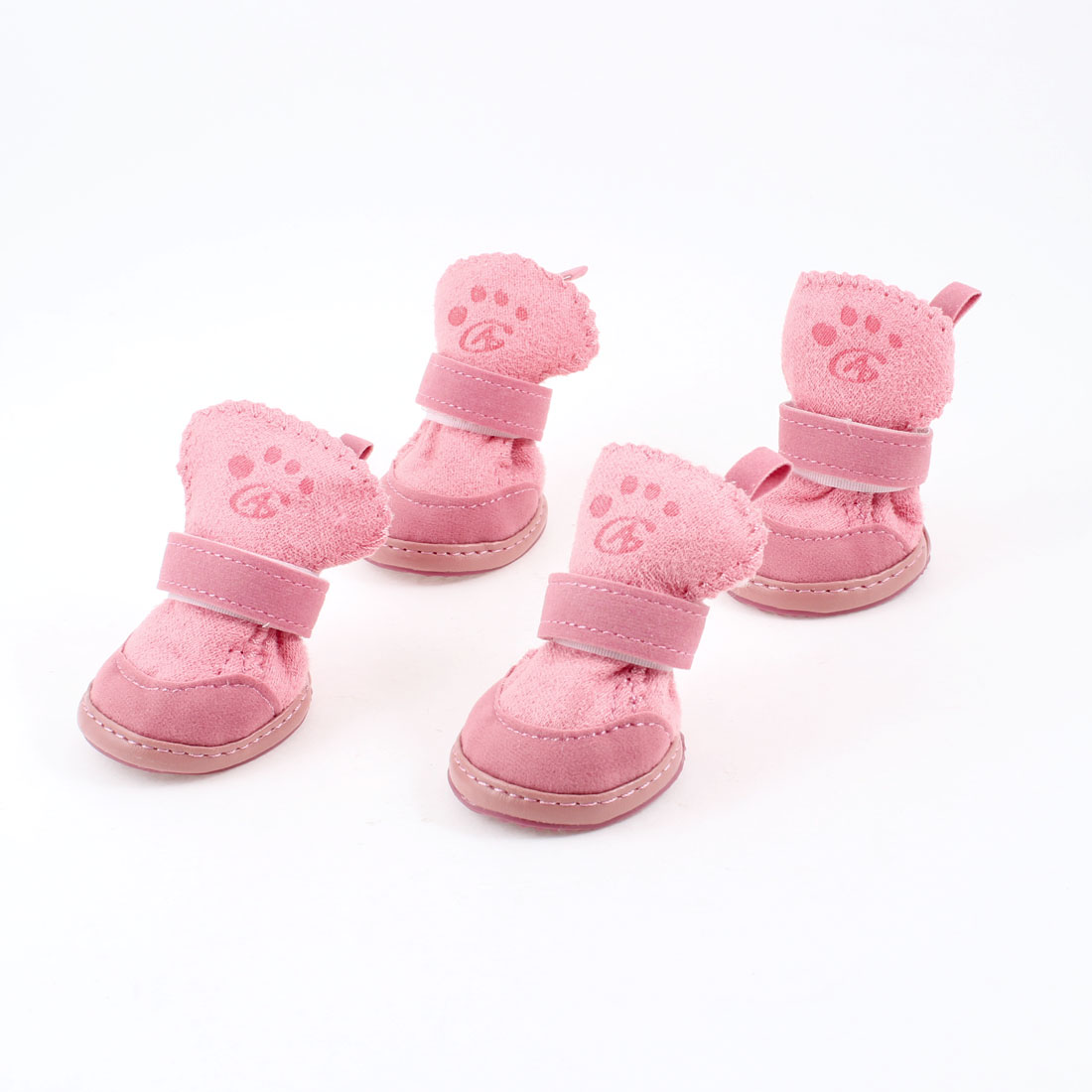 Pink Nonslip Sole Hook and Loop Fastener Booties Pet Dog Chihuahua Shoes Boots 2 Pair XS