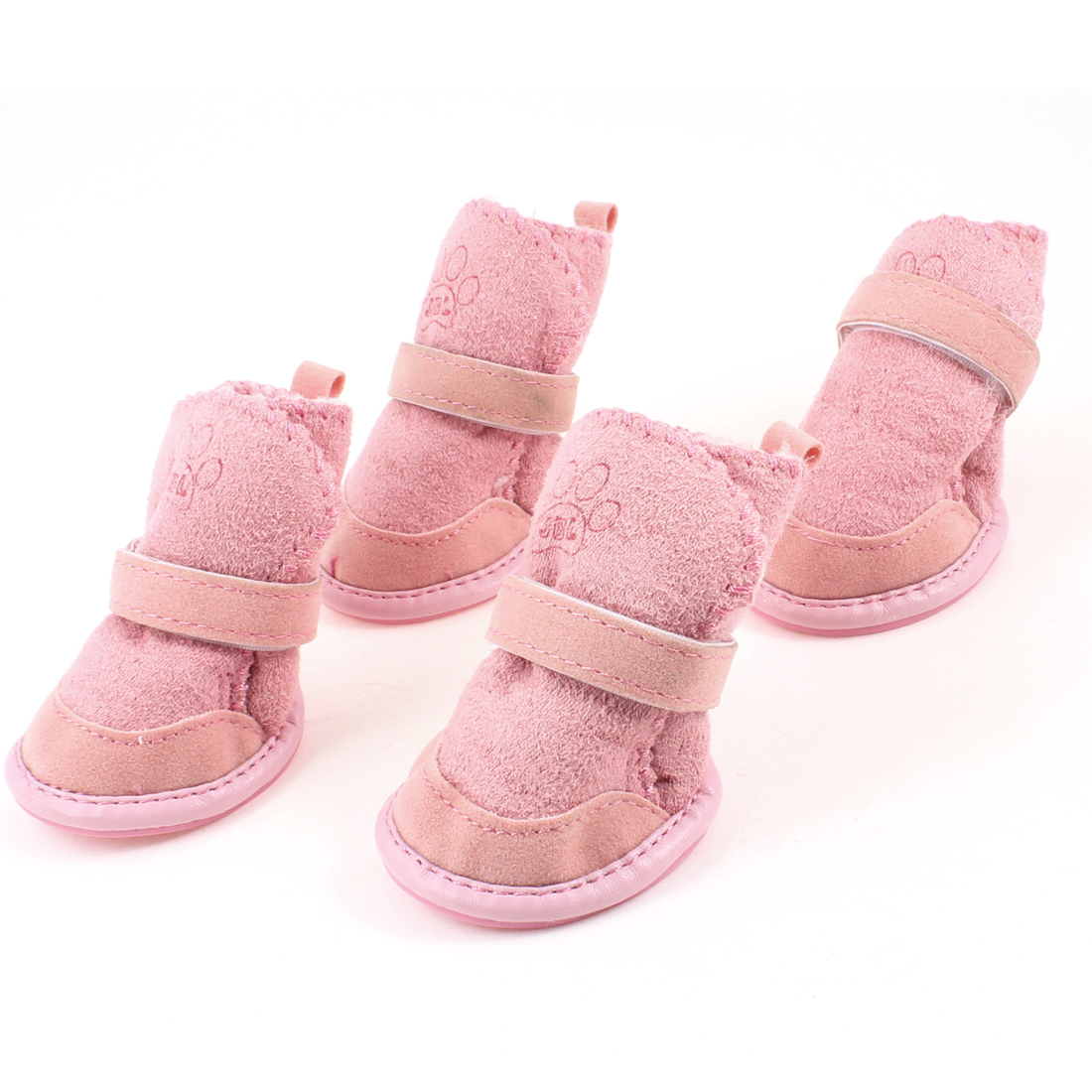 Pink Nonslip Sole Hook and Loop Fastener Booties Pug Dog Chihuahua Shoes Boots 2 Pair M