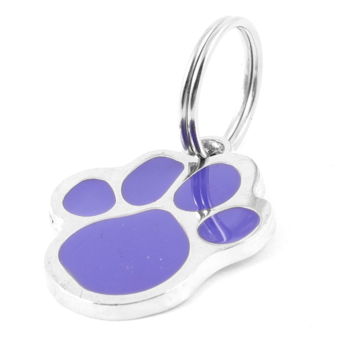 Metal Foot Pet Tag Cat Dog Personalised Collar Badge Keyring Pendant Purple