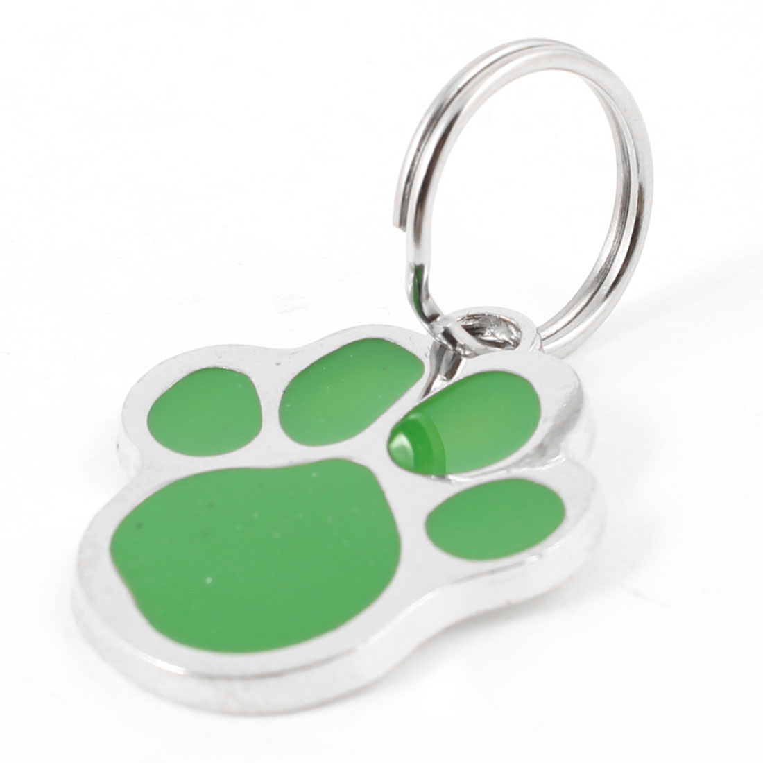 Metal Foot Pet Tag Cat Dog Personalised Collar Badge Keyring Pendant Green