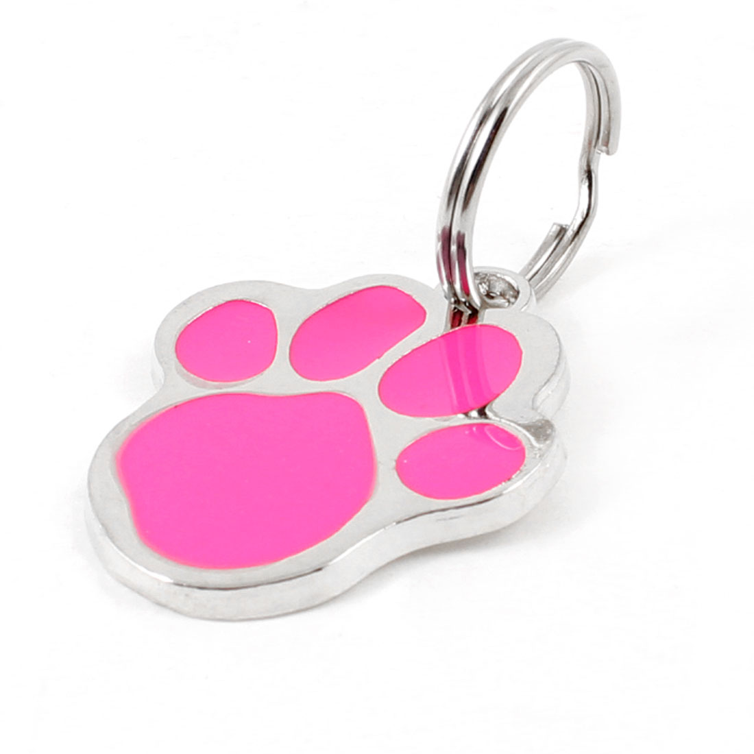 Fuchsia Silver Tone Foot Keyring Pendant Puppy Dog Collar ID Name Tag