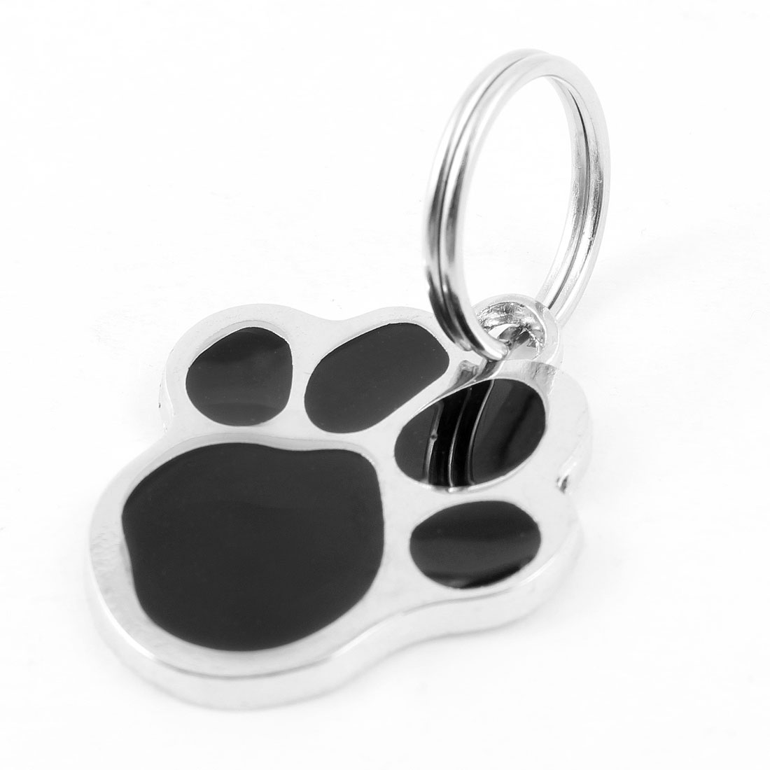 Foot Printed Keychain Pendant Pet Cat Dog Collar ID Tag Black Silver Tone