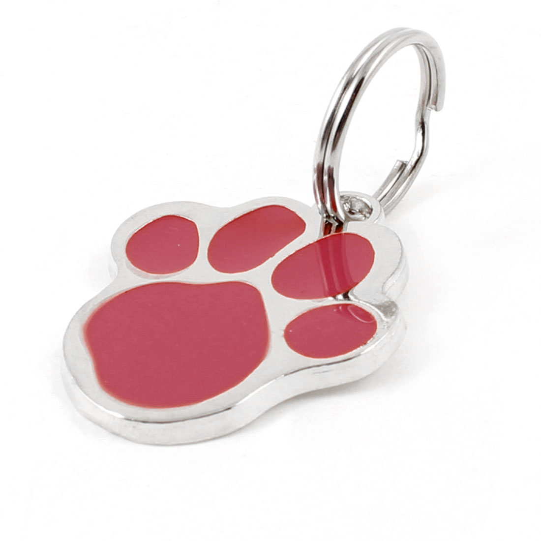 Red Silver Tone Foot Keyring Pendant Puppy Dog Collar ID Name Tag