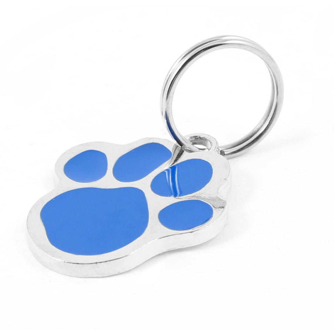 Metal Foot Pet Tag Cat Dog Personalised Collar Badge Keyring Pendant Blue Silver Tone