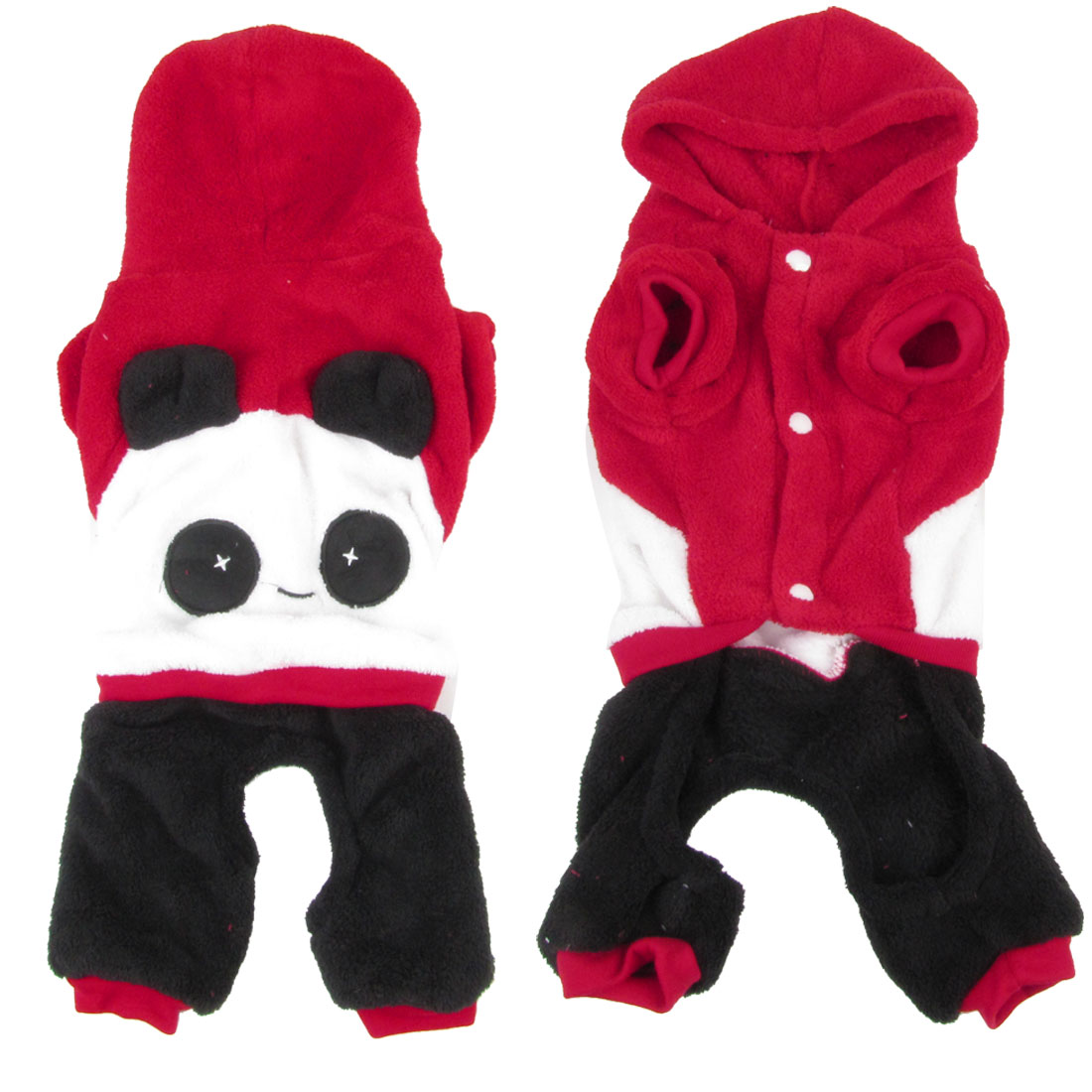 Short Sleeves Hooded Panda Shaped Chihuahua Pet Dog Cat Apparel Jumpsuit Red S