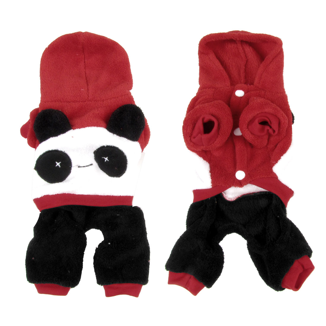Winter Hooded Press Stud Button Panda Design Pet Dog Doggie Cat Jumpsuit Red M