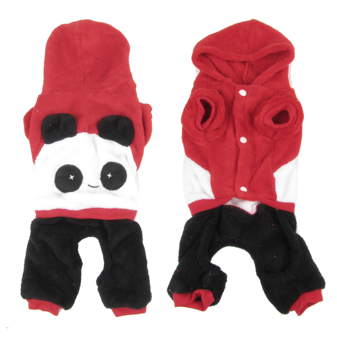 Warm Plush Single Breasted Panda Design Pet Puppy Dog Cat Jumpsuit Red L