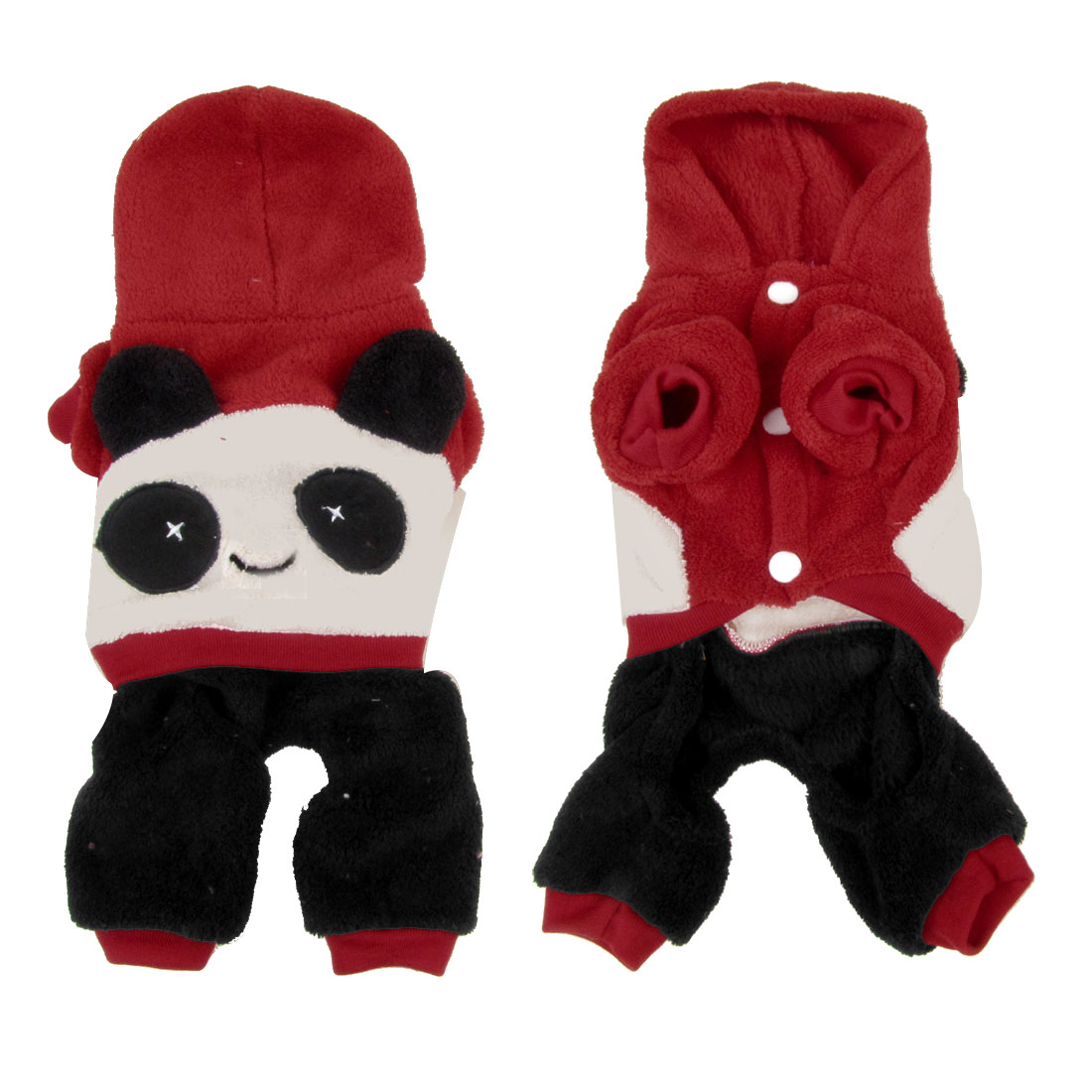 Winter Press Stud Button Hooded Panda Design Pet Puppy Dog Cat Jumpsuit Red XS