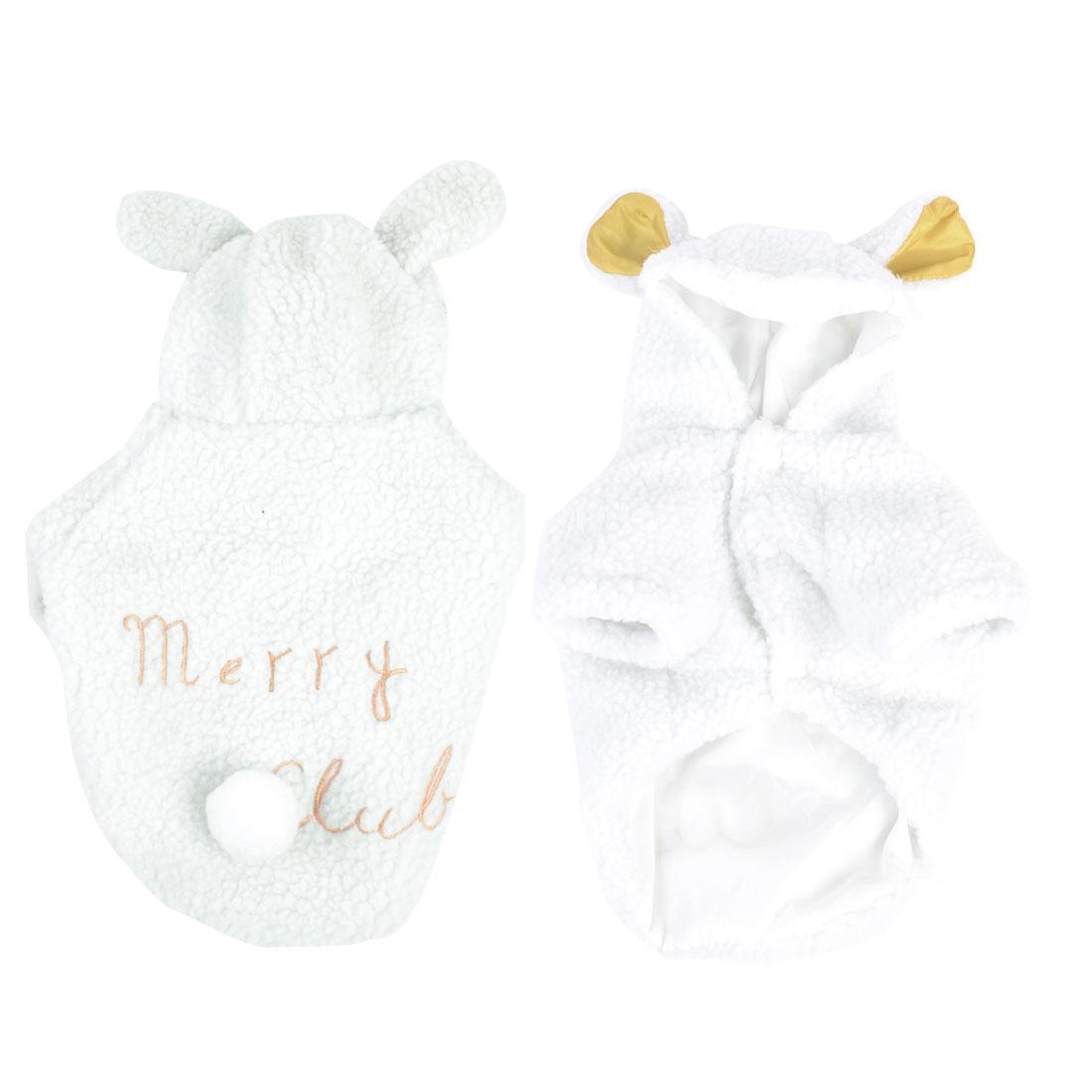 Warm Plush Press Stud Button Hoodie Yorkie Dog Cat Apparel Coat White Size 3XL