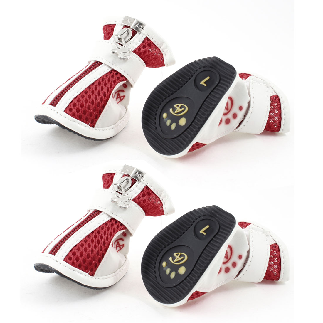 Pet Dog Yorkie Chihuaha Zipper Closure White Red Meshy Shoes 4 Pcs Size 1