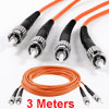 Duplex Multimode 62.5/125 ST-ST Fiber Optic Patch Jump Cable Orange 3 Meters