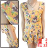 Woman Shoulder Straps Design Backless Purple Floral Prints Pink Short Rompers XS