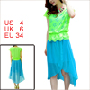 Ladies Cap Sleeve Hollow Out Dress Turquoise Lime S