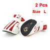 Dog Chihuaha Nonslip Rubber Sole Hook Loop Fastener Shoes White Red Pair Size L