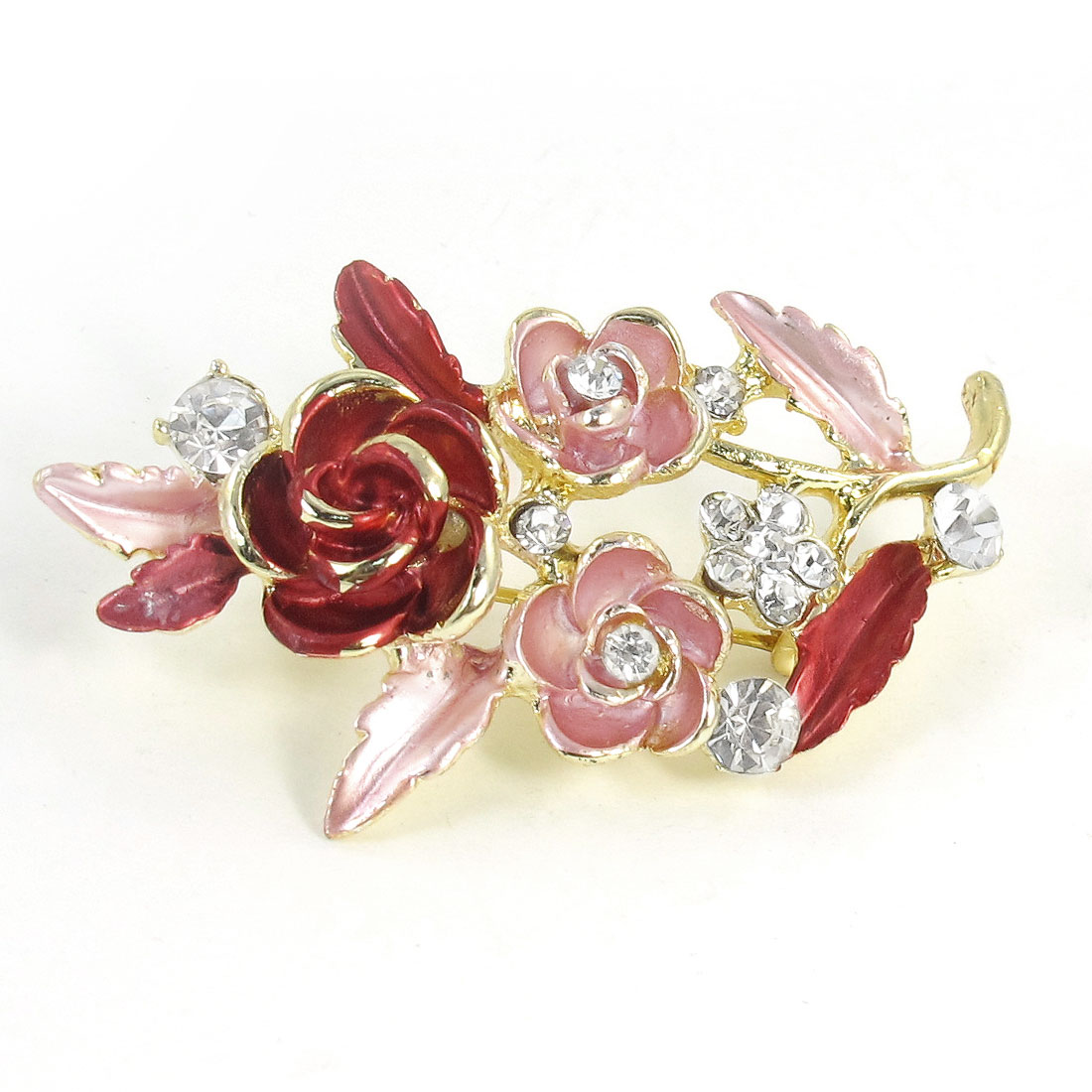 Lady Rhinestone Decoration Flower Shape Pink Red Metal Brooch Pin