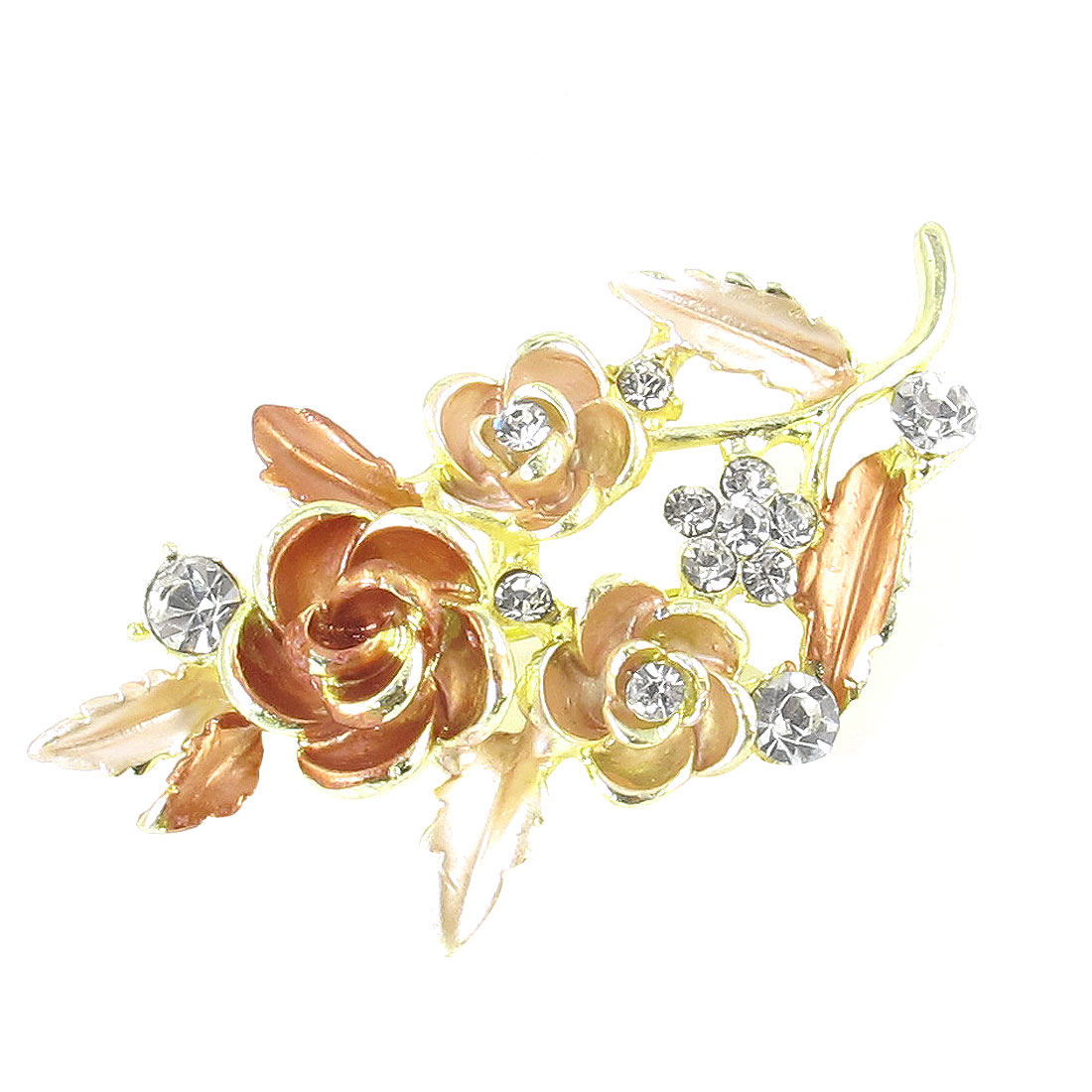 Ladies Rhinestones Accent Leaves Flower Design Metal Pin Clip Brooch Pink