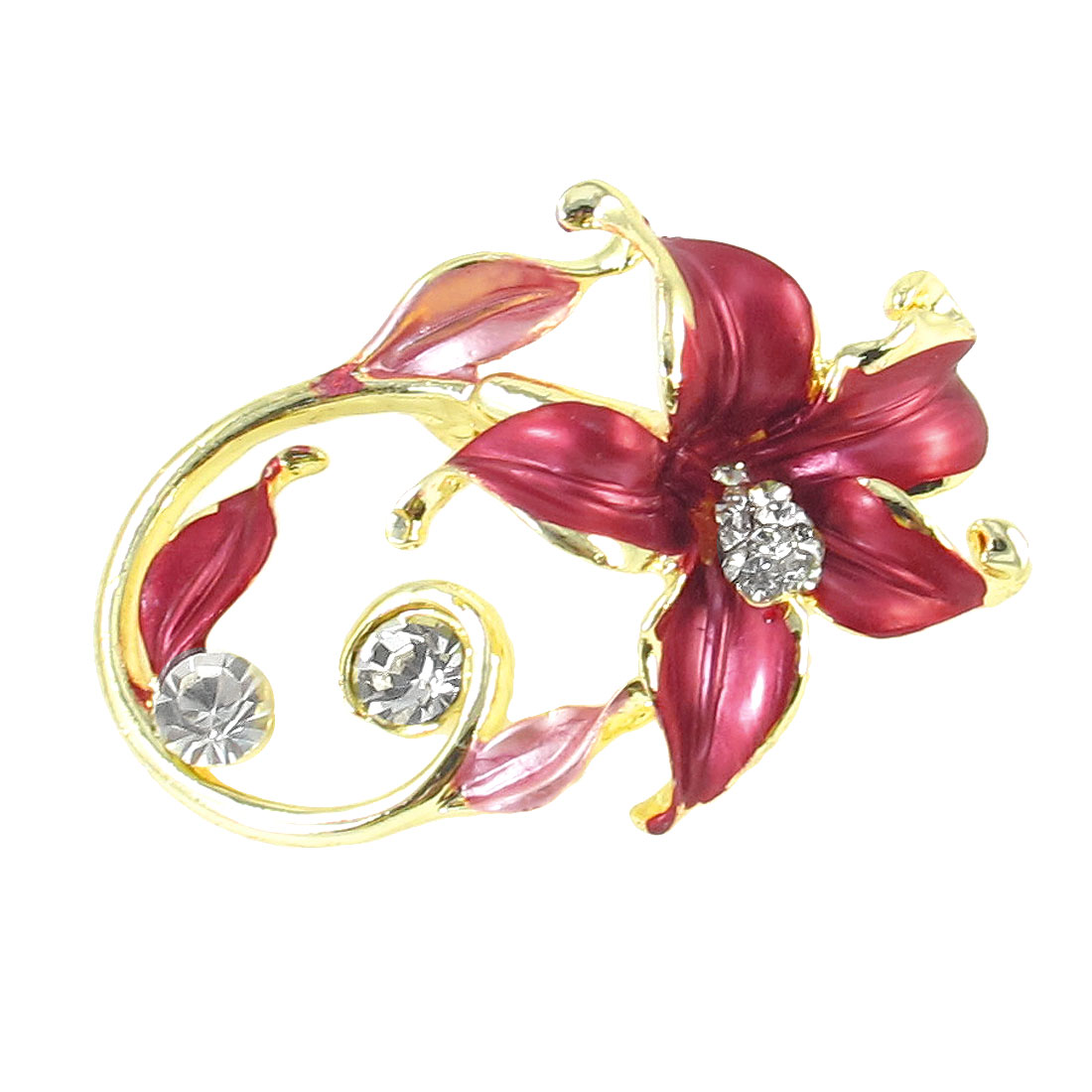 Lady Glitter Rhinestones Detail Burgundy Flower Type Metal Pin Clip Brooch