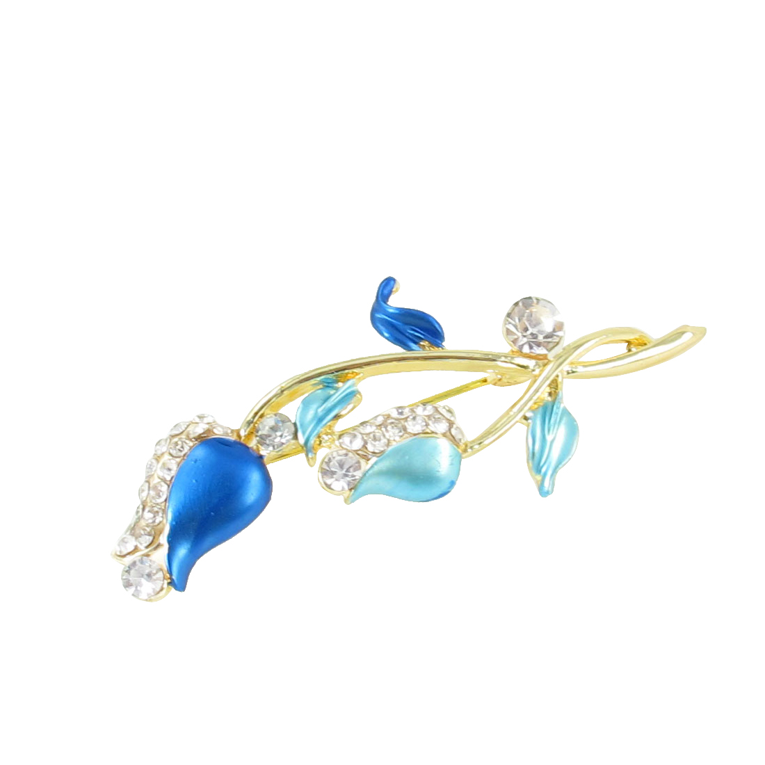 Lady Glittery Rhinestone Detail Baby Blue Floral Type Safety Pin Brooch Broach