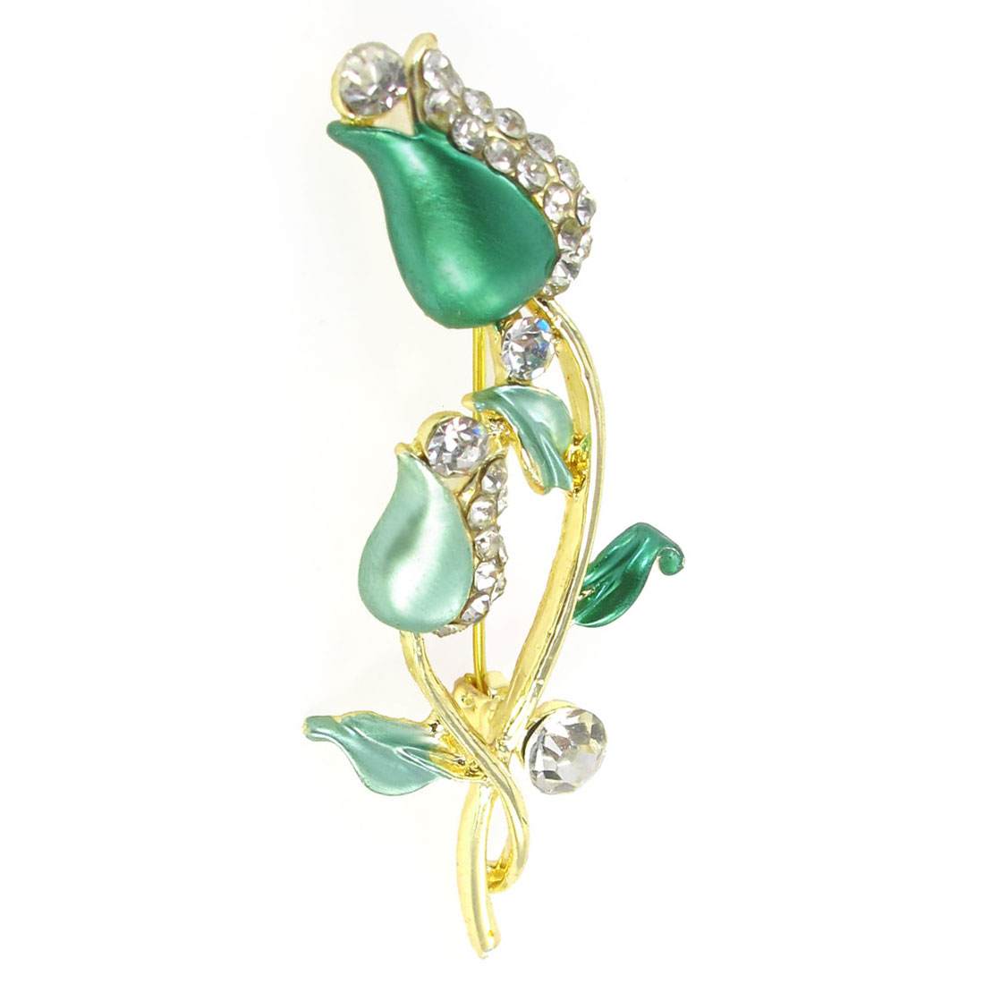 Lady Glittery Rhinestone Detail Green Floral Design Safety Pin Brooch Broach