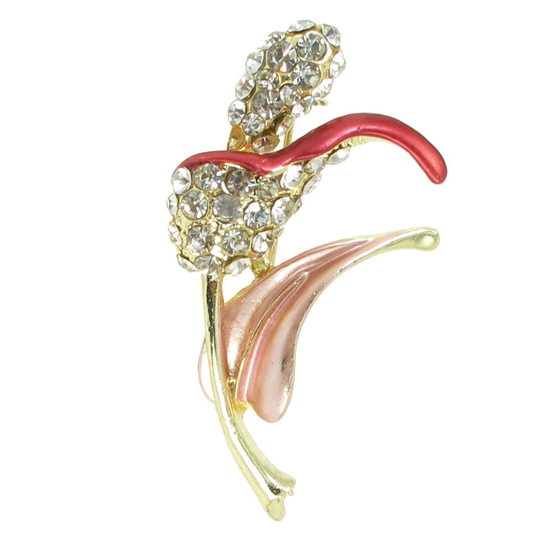 Pink Red Leaves Rhinestones Decoration Pin Brooch Breastpin Gift for Lady
