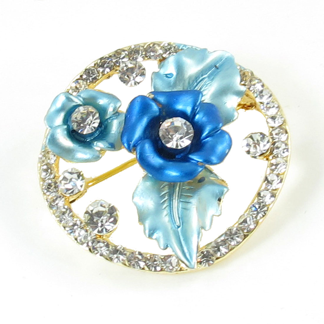 Lady Rhinestones Flower Decor Round Shaped Metal Safety Pin Brooch Blue
