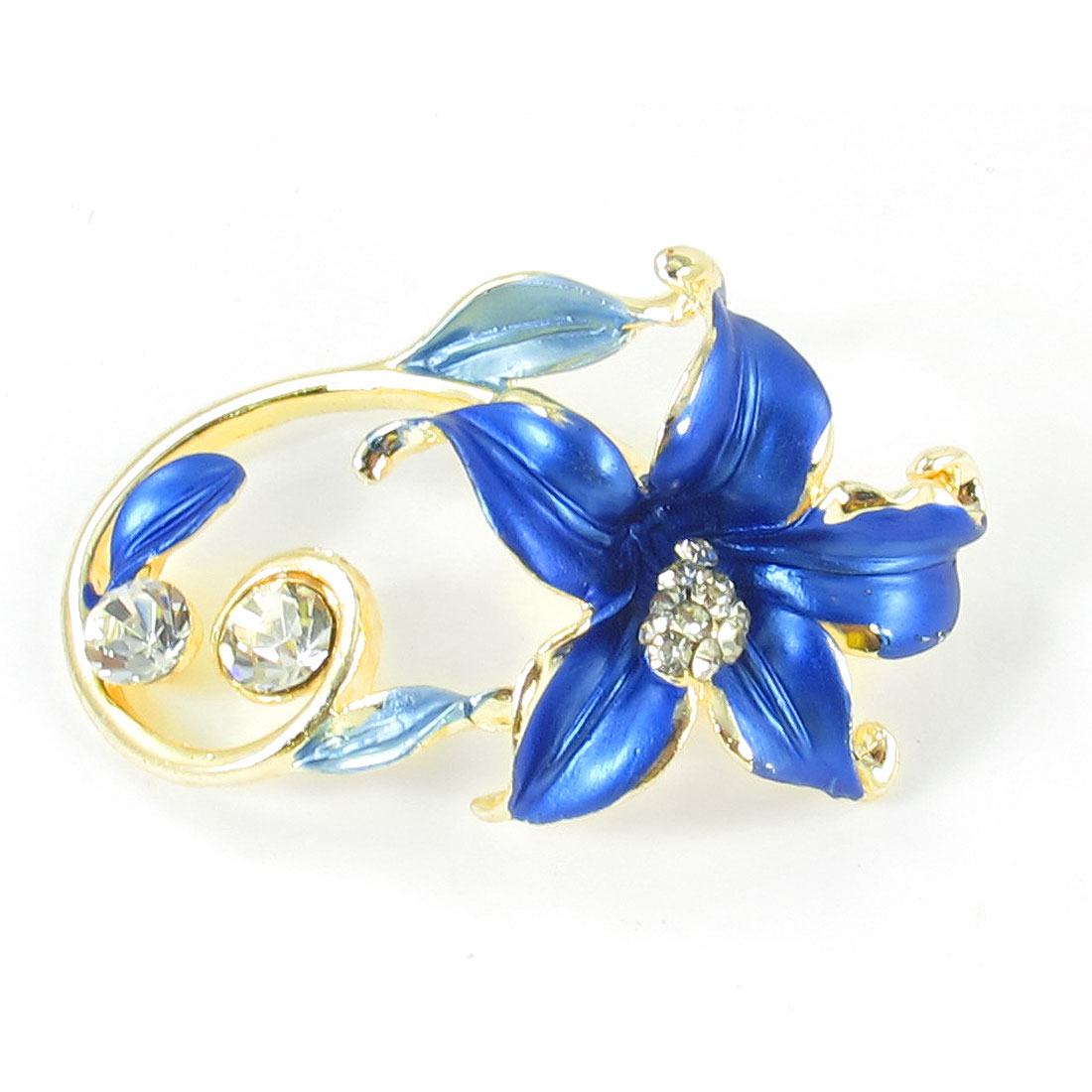 Ladies Rhinestones Detail Blue Flower Design Metal Pin Clip Brooch Breastpin