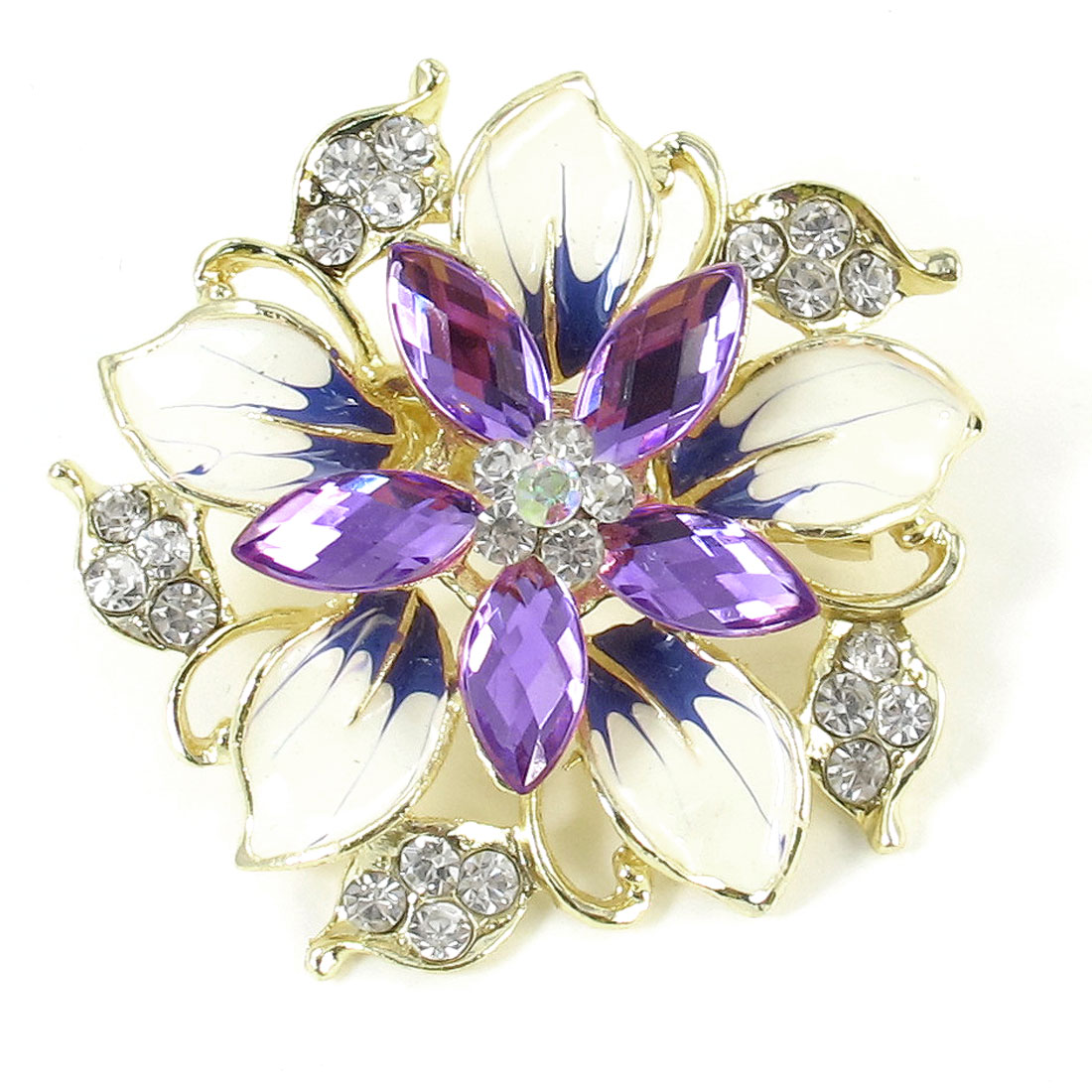 Purple Faceted Beads Decor Floral Design Safety Pin Clip Brooch for Women