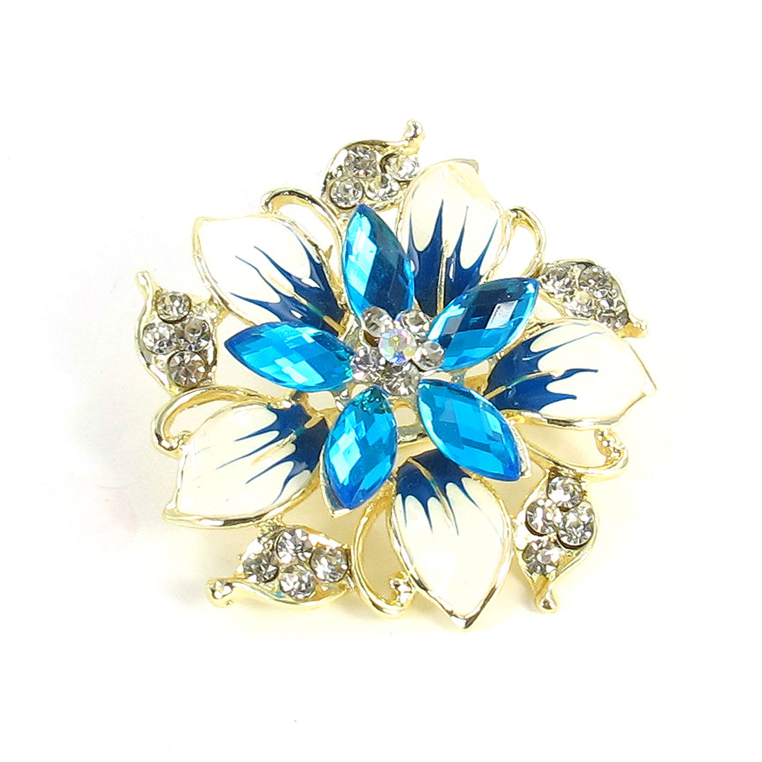 Lady Glitter Rhinestone Decor Blue Flower Design Safety Pin Brooch Broach
