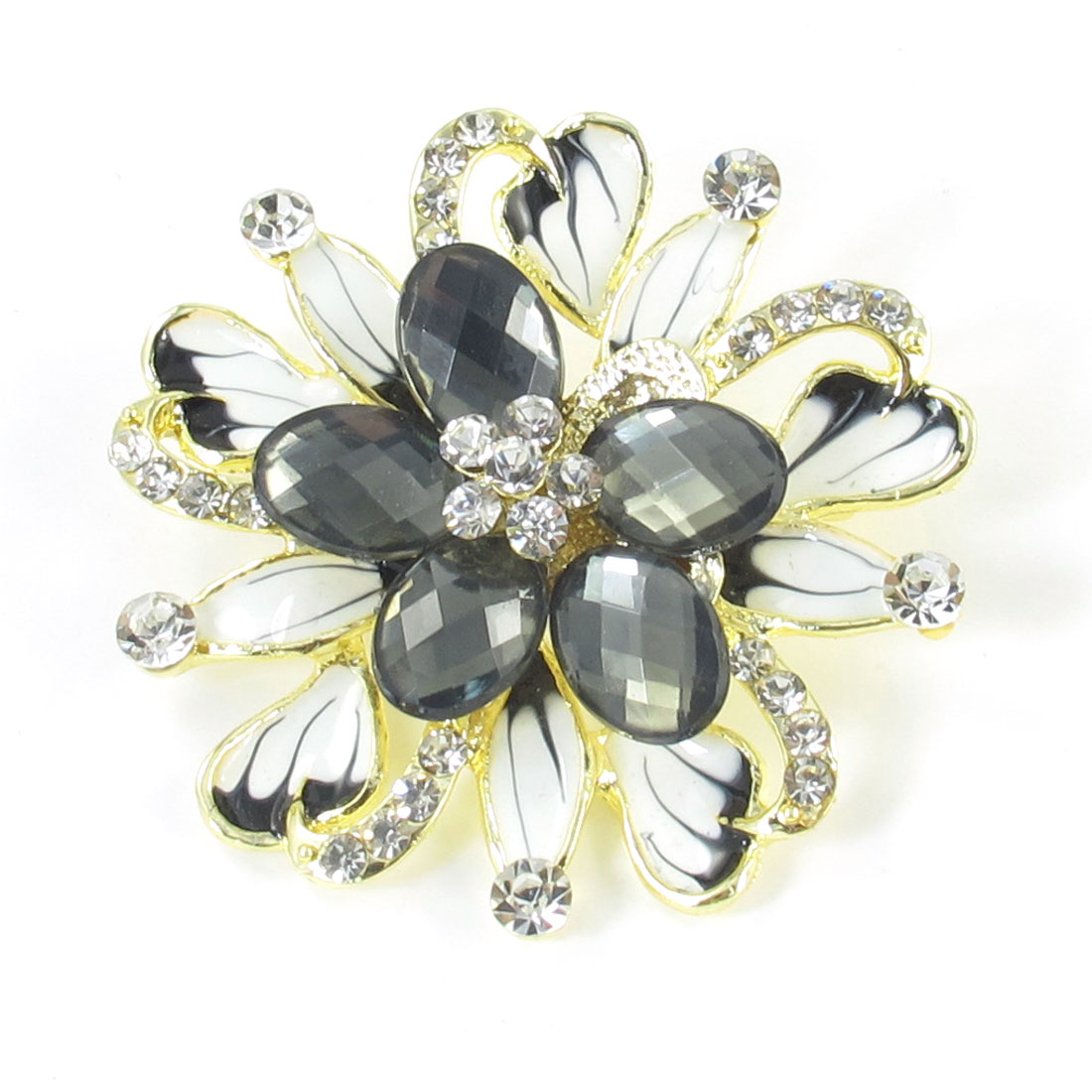 Lady Rhinestones Decor Flower Shaped Metal Safety Pin Brooch Steel Blue White