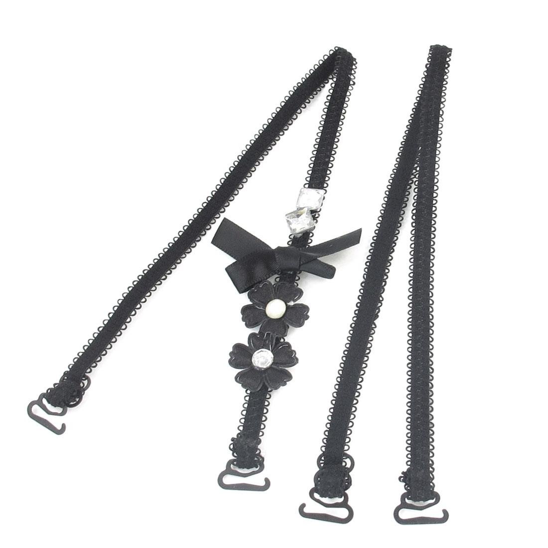 Ladies Flower Rhinestones Decor Adjustable Band Bra Shoulder Strap Black 2PCS