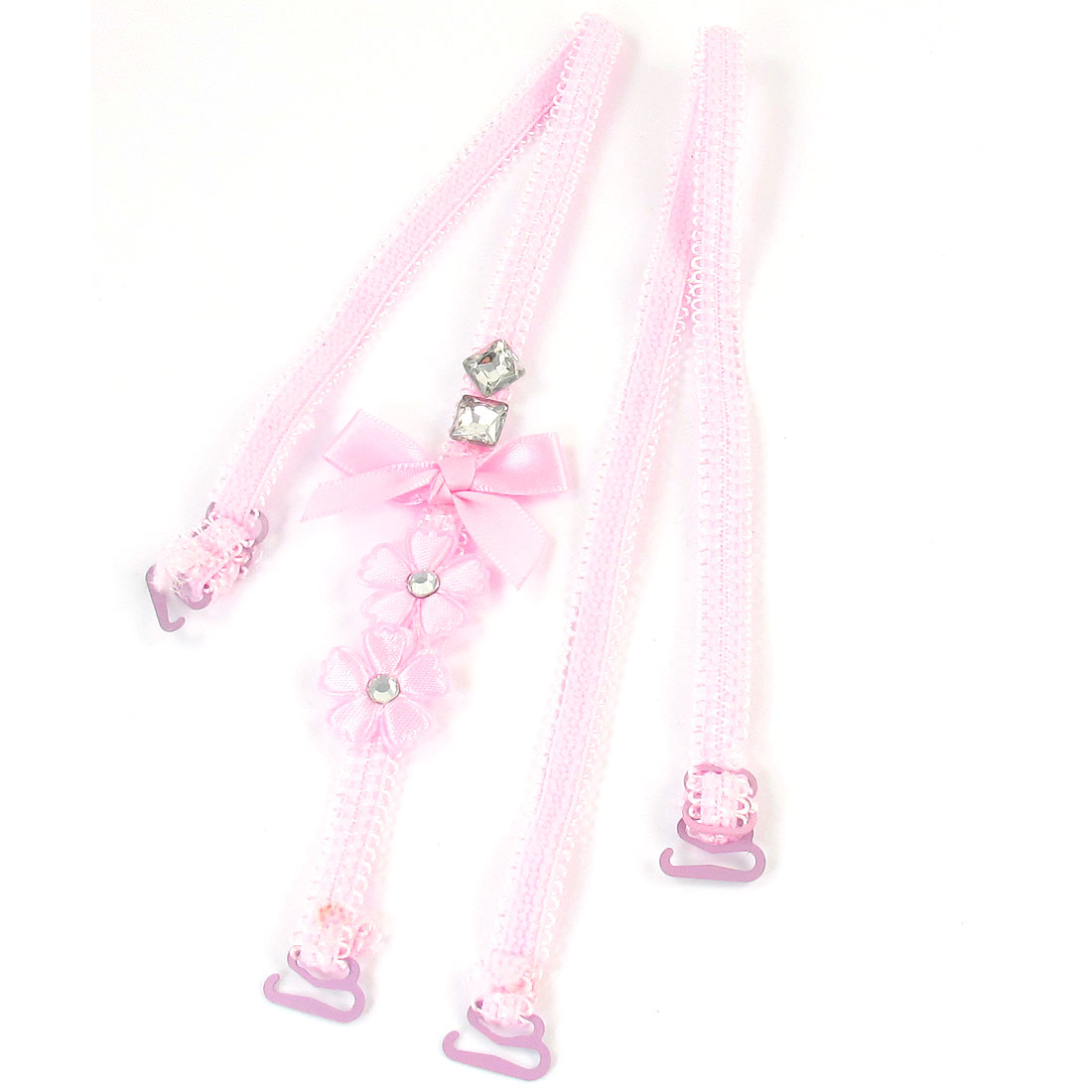 Ladies Pink Flower Rhinestones Decor Adjustable Band Bra Shoulder Strap 2PCS