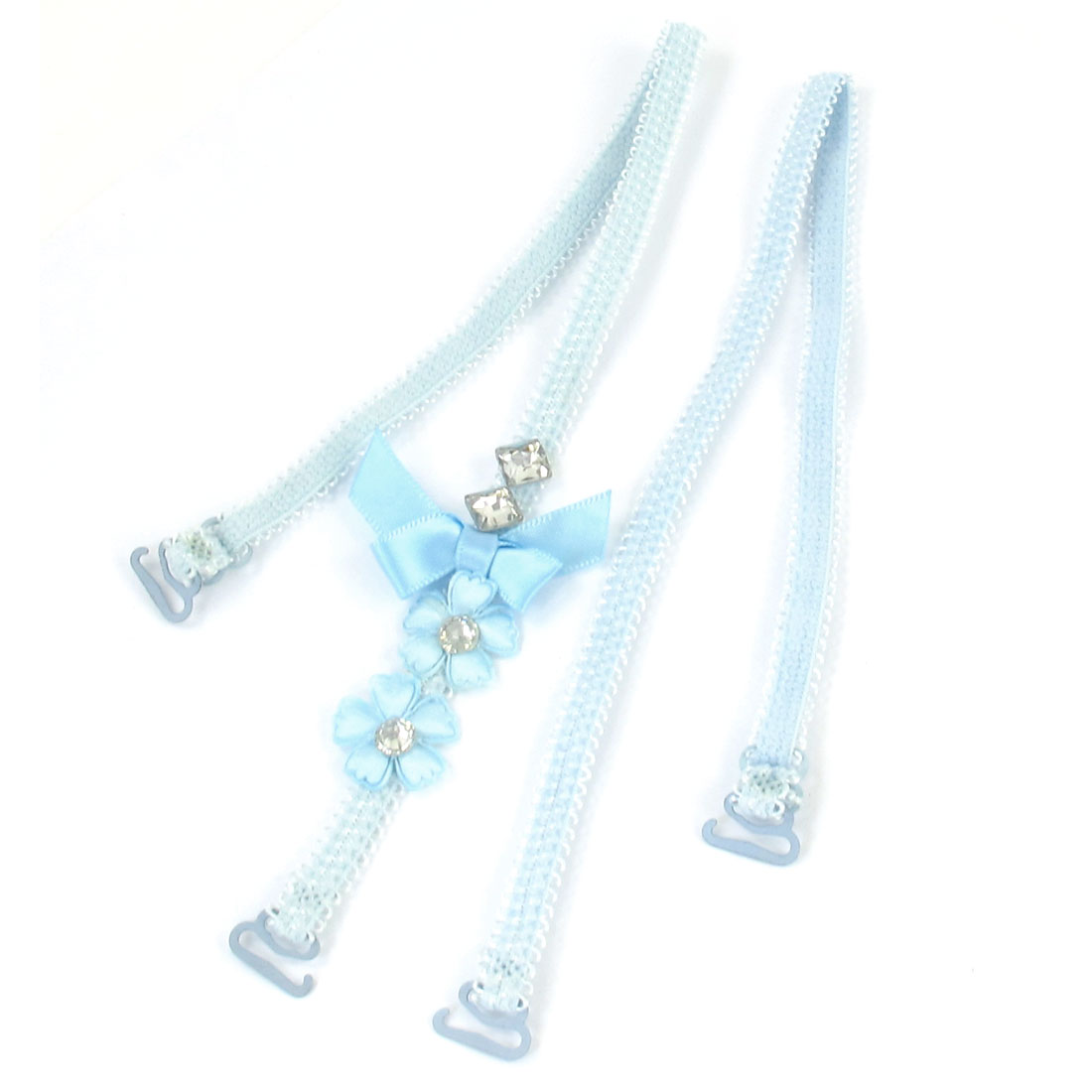 Pair Faux Crystal Bowknot Decor Stretchy Bra Shoulder Strap Light Blue for Women