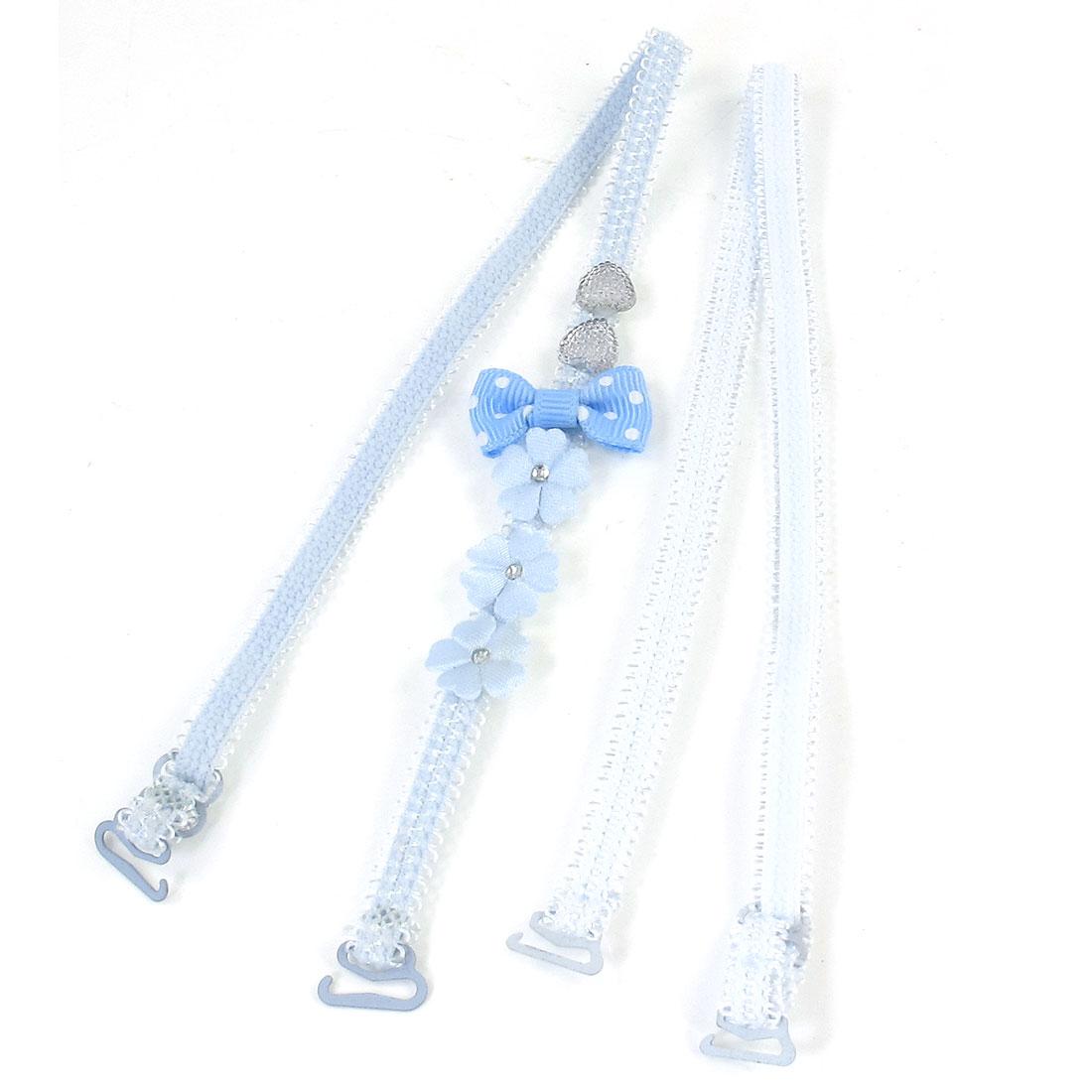 Light Blue Flower Bow Tie Pattern Elastic Band Bra Straps Pair for Women