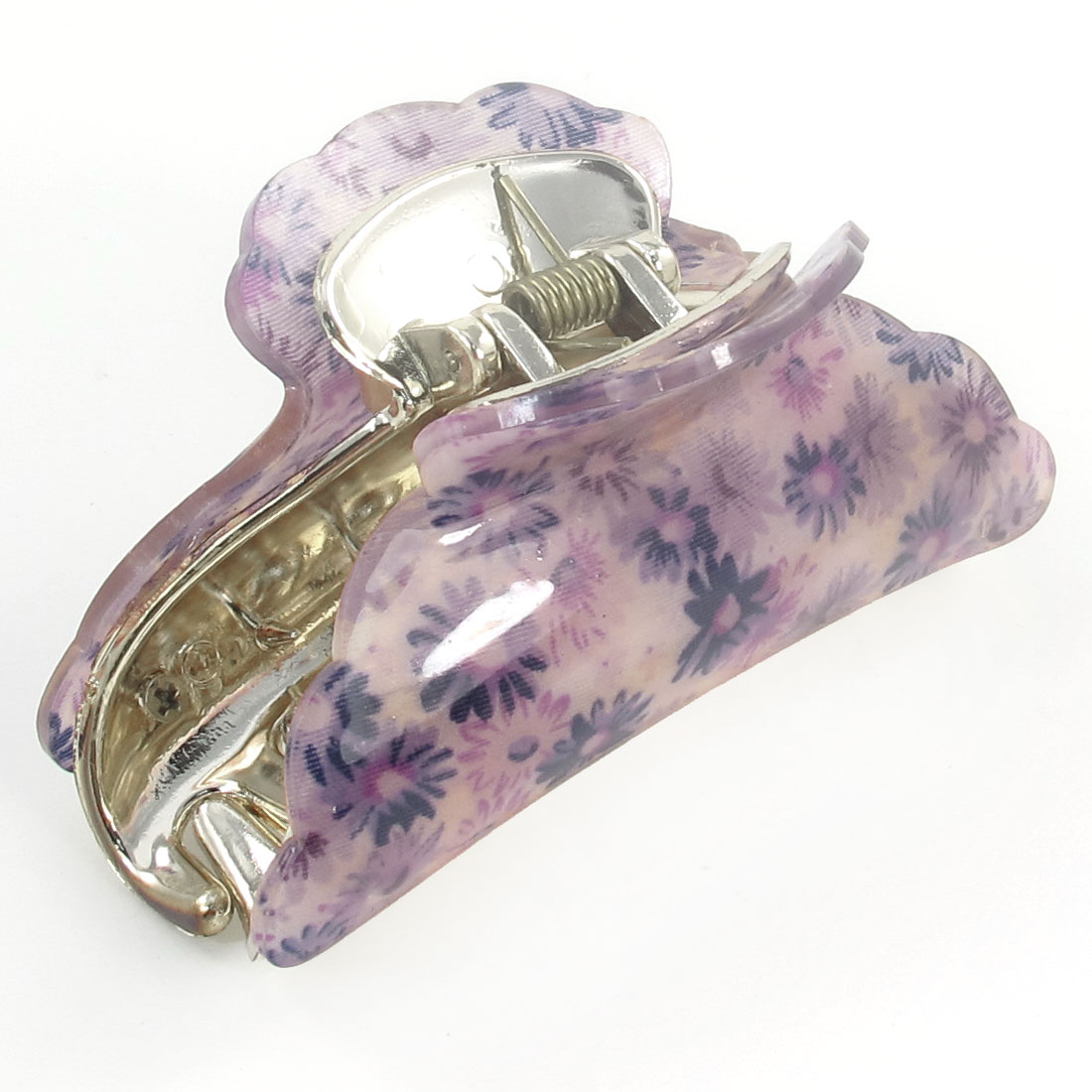 Lady Purple Floral Pattern Press Spring Plastic Hair Claw Clamp Hairclip