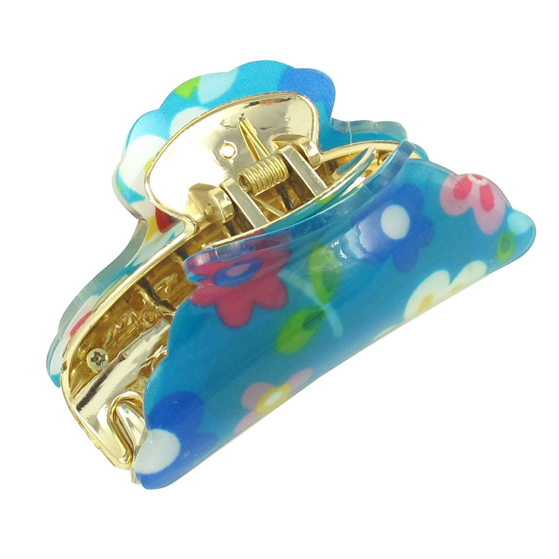 Ladies Flower Pattern Press Spring Hair Claw Clamp Hairclip Blue