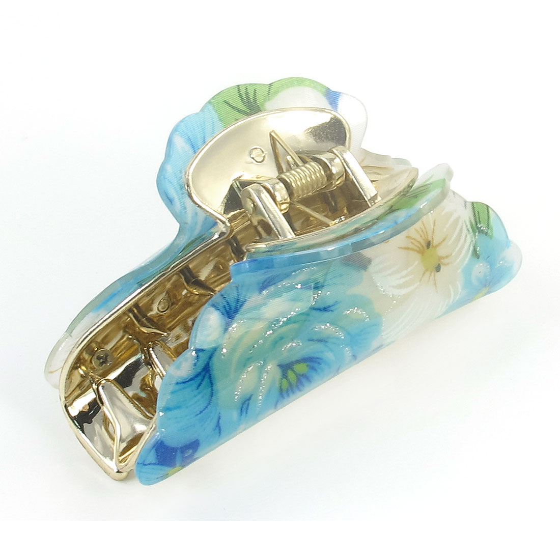Lady Blue Flower Print Press Spring Plastic Hair Claw Clamp Hairclip