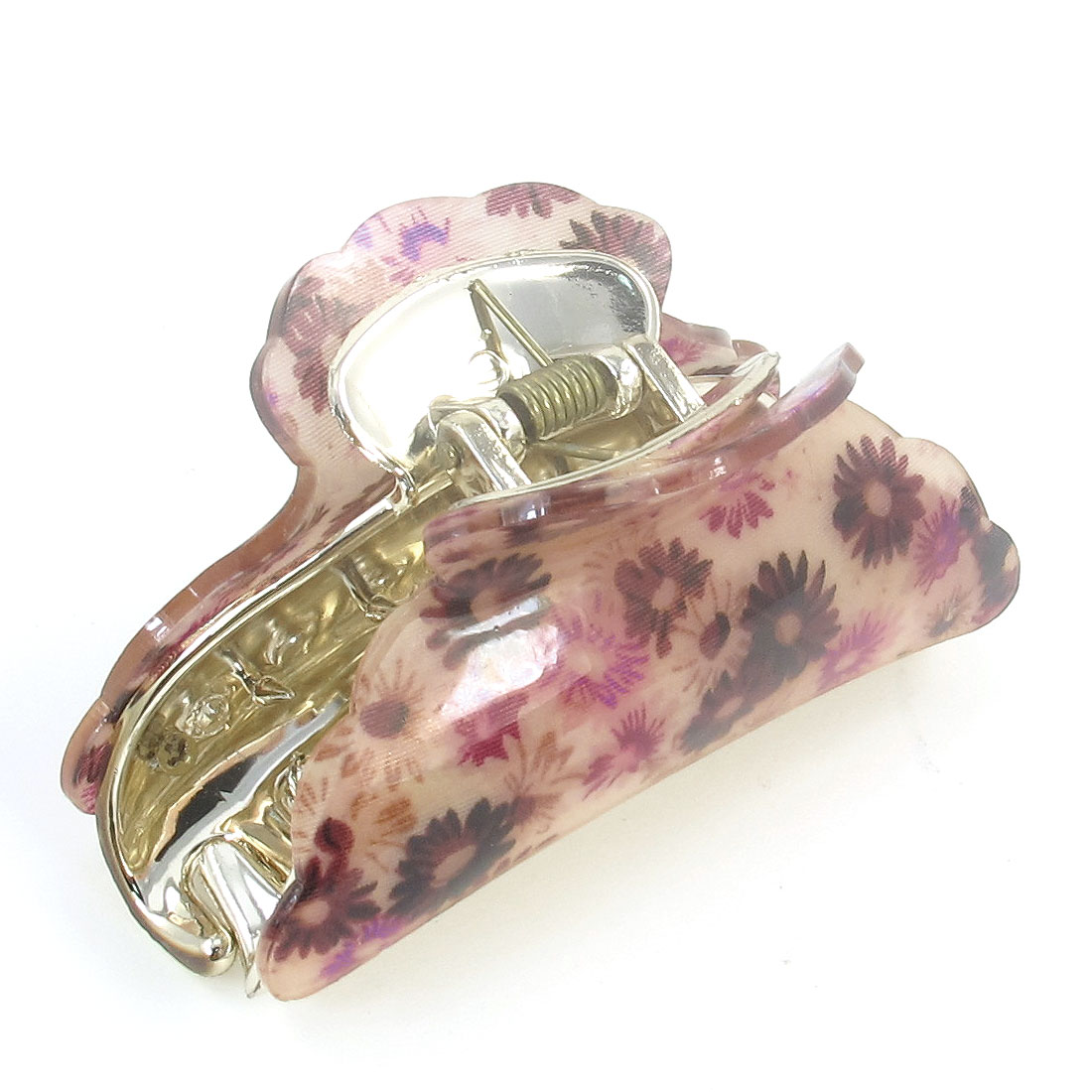 Pink Purple Floral Pattern Plastic Teeth Hair Clamp Claw Barrette for Lady