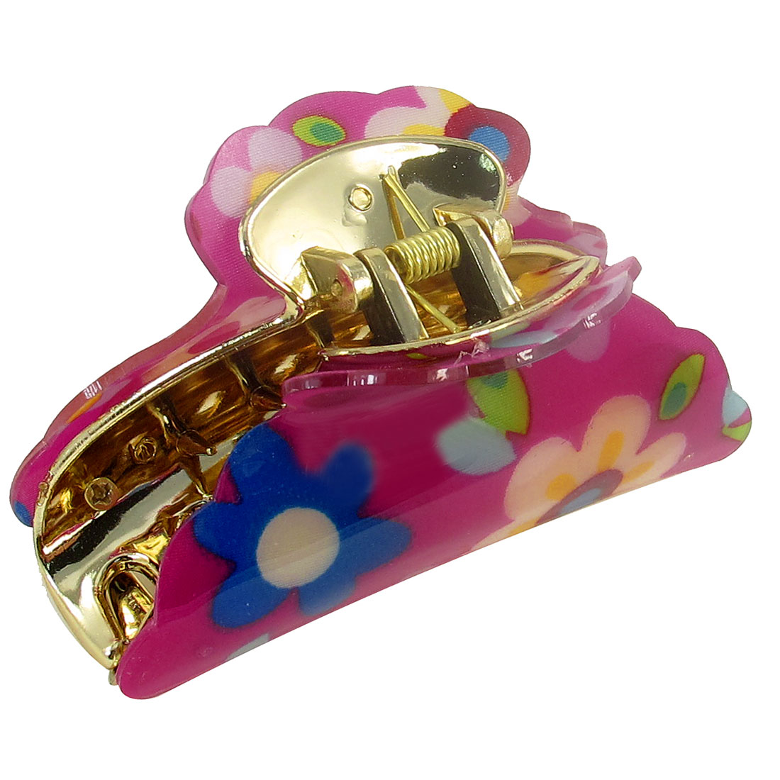 Blue Floral Pattern Press Spring Plastic Hairclip Clamp Hair Claw for Lady