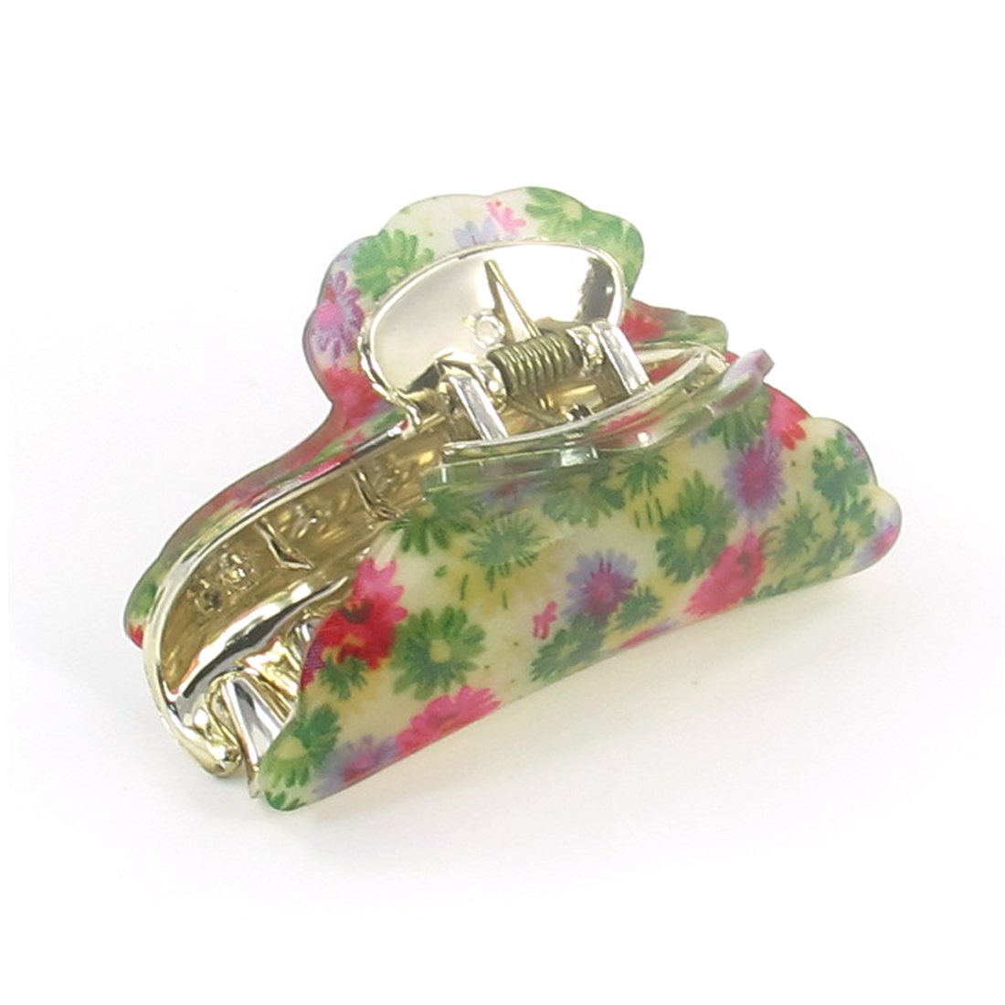 Women Green Fuchsia Flower Pattern Press Spring Hair Claw Clamp Hairclip